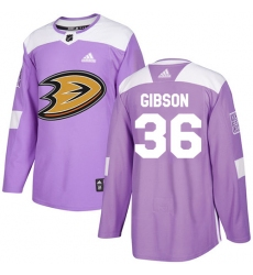 Men's Adidas Anaheim Ducks #36 John Gibson Authentic Purple Fights Cancer Practice NHL Jersey