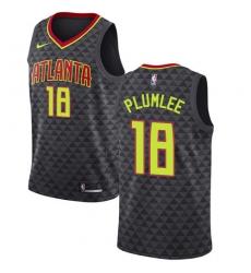 Men's Nike Atlanta Hawks #18 Miles Plumlee Authentic Black Road NBA Jersey - Icon Edition