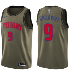 Men's Nike Detroit Pistons #9 Langston Galloway Swingman Green Salute to Service NBA Jersey