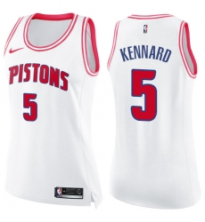 Women's Nike Detroit Pistons #5 Luke Kennard Swingman White/Pink Fashion NBA Jersey