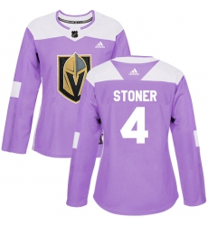 Women's Adidas Vegas Golden Knights #4 Clayton Stoner Authentic Purple Fights Cancer Practice NHL Jersey