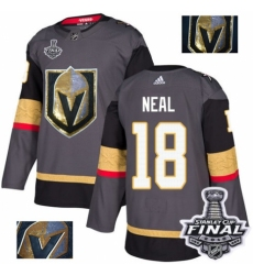 Men's Adidas Vegas Golden Knights #18 James Neal Authentic Gray Fashion Gold 2018 Stanley Cup Final NHL Jersey