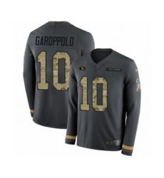 Men's Nike San Francisco 49ers #10 Jimmy Garoppolo Limited Black Salute to Service Therma Long Sleeve NFL Jersey