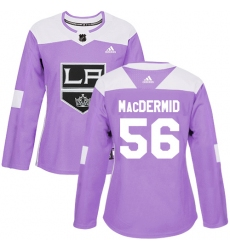 Women's Adidas Los Angeles Kings #56 Kurtis MacDermid Authentic Purple Fights Cancer Practice NHL Jersey