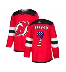Men's New Jersey Devils #7 Matt Tennyson Authentic Red USA Flag Fashion Hockey Jersey