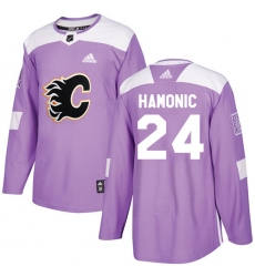 Youth Reebok Calgary Flames #24 Travis Hamonic Authentic Purple Fights Cancer Practice NHL Jersey