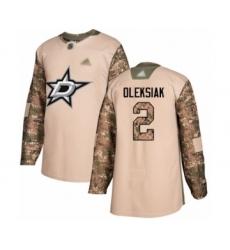 Men's Dallas Stars #2 Jamie Oleksiak Authentic Camo Veterans Day Practice Hockey Jersey