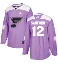 Youth Adidas St. Louis Blues #12 Zach Sanford Authentic Purple Fights Cancer Practice NHL Jersey