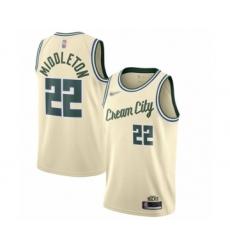 Men's Milwaukee Bucks #22 Khris Middleton Swingman Cream Basketball Jersey - 2019 20 City Edition