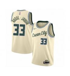 Men's Milwaukee Bucks #33 Kareem Abdul-Jabbar Swingman Cream Basketball Jersey - 2019 20 City Edition