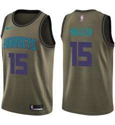 Men's Nike Charlotte Hornets #15 Percy Miller Swingman Green Salute to Service NBA Jersey