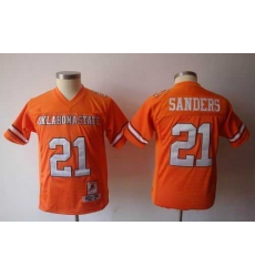 youth NCAA Oklahoma State Cowboys 21 Barry Sanders orange jerseys