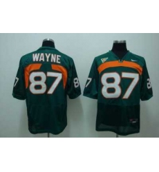 Hurricanes #87 Reggie Wayn Green Embroidered NCAA Jersey