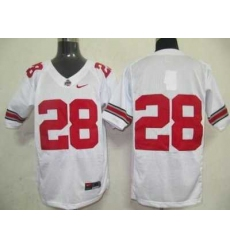 Buckeyes #28 White Embroidered NCAA Jersey