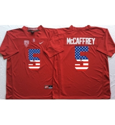 Stanford Cardinals #5 Christian McCaffrey Red USA Flag College Jersey