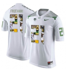 Oregon Ducks #21 Royce Freeman White With Portrait Print College Football Jersey