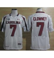 Under Armour South Carolina Javedeon Clowney 7 New SEC Patch NCAA Football - White