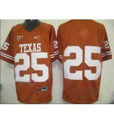 Longhorns #25 Orange Embroidered NCAA Jersey