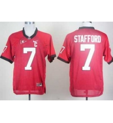 Georgia Bulldogs 7 Matthew Stafford Red C Patch College Football Jersey