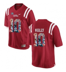 Ole Miss Rebels #10 Chad Kelly Red With Portrait Print College Football Jersey