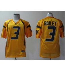NEW West Virginia Mountaineers Stedman Bailey 3 Golden College Football Jerseys