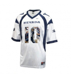 Nevada WolfPack #10 Colin Kaepernick WAC Patch White With Portrait Print College Football Jersey