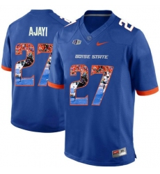 Boise State Broncos #27 Jay Ajayi Blue With Portrait Print College Football Jersey2