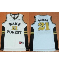 Wake Forest Demon Deacons #21 Tim Duncan White Basketball Stitched NCAA Jersey