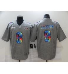 Men's Baltimore Ravens #8 Lamar Jackson Gray Rainbow Version Nike Limited Jersey