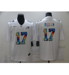 Men's Buffalo Bills #17 Josh Allen White Rainbow Version Nike Limited Jersey
