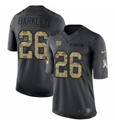 Men's Nike New York Giants #26 Saquon Barkley Limited Black 2016 Salute to Service NFL Jersey