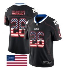Men's Nike New York Giants #26 Saquon Barkley Limited Black Rush USA Flag NFL Jersey