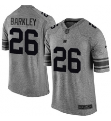 Men's Nike New York Giants #26 Saquon Barkley Limited Gray Gridiron NFL Jersey