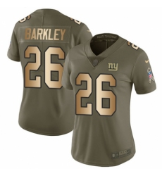 Women's Nike New York Giants #26 Saquon Barkley Limited Olive Gold 2017 Salute to Service NFL Jersey