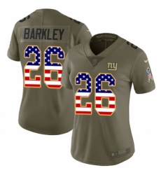 Women's Nike New York Giants #26 Saquon Barkley Limited Olive USA Flag 2017 Salute to Service NFL Jersey