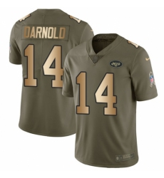 Men's Nike New York Jets #14 Sam Darnold Limited Olive/Gold 2017 Salute to Service NFL Jersey