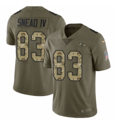 Men's Nike Baltimore Ravens #83 Willie Snead IV Limited Olive/Camo Salute to Service NFL Jersey