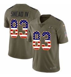 Men's Nike Baltimore Ravens #83 Willie Snead IV Limited Olive/USA Flag Salute to Service NFL Jersey