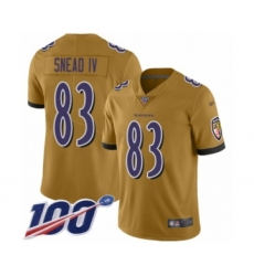 Youth Baltimore Ravens #83 Willie Snead IV Limited Gold Inverted Legend 100th Season Football Jersey