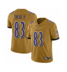 Youth Baltimore Ravens #83 Willie Snead IV Limited Gold Inverted Legend Football Jersey