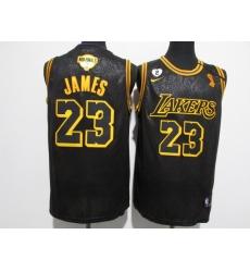 Men's Los Angeles Lakers #23 LeBron James Nike Black Champions Jersey