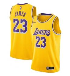 Men's Los Angeles Lakers #23 LeBron James Nike Gold 2020-21 Swingman Jersey