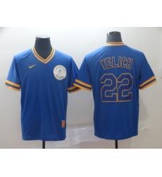 Men's Nike Milwaukee Brewers #22 Christian Yelich Blue Alternate Jersey