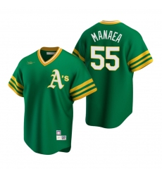 Men's Nike Oakland Athletics #55 Sean Manaea Kelly Green Cooperstown Collection Road Stitched Baseball Jersey