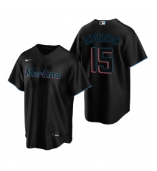 Men's Nike Miami Marlins #15 Brian Anderson Black Alternate Stitched Baseball Jersey