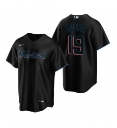 Men's Nike Miami Marlins #19 Miguel Rojas Black Alternate Stitched Baseball Jersey
