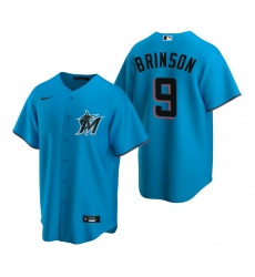 Men's Nike Miami Marlins #9 Lewis Brinson Blue Alternate Stitched Baseball Jersey