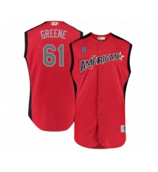 Men's Detroit Tigers #61 Shane Greene Authentic Red American League 2019 Baseball All-Star Jersey