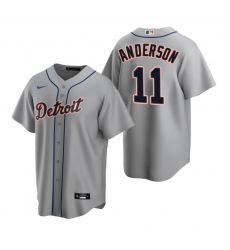 Men's Nike Detroit Tigers #11 Sparky Anderson Gray Road Stitched Baseball Jersey