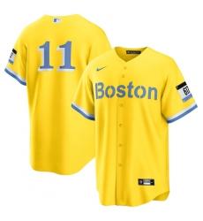 Men's Boston Red Sox #11 Rafael Devers Nike Gold-Light Blue 2021 City Connect Replica Player Jersey